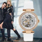 Kenneth Cole 玫瑰金水鑽圈機械鏤空白色皮帶女生機械錶 35mm KC15107001 公司貨|名人鐘錶