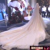 抖音同款香檳色星空頭紗頭飾超長款新娘結婚婚紗超仙森系白色拖尾