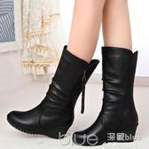 歐美秋冬雪地靴女鞋馬丁靴女高跟中筒靴坡跟圓頭女靴短靴 深藏blue