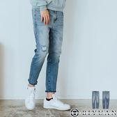 【OBIYUAN】牛仔褲 韓國製 漸層 刷色 刷破 彈性 丹寧長褲 共1色【BPA110】