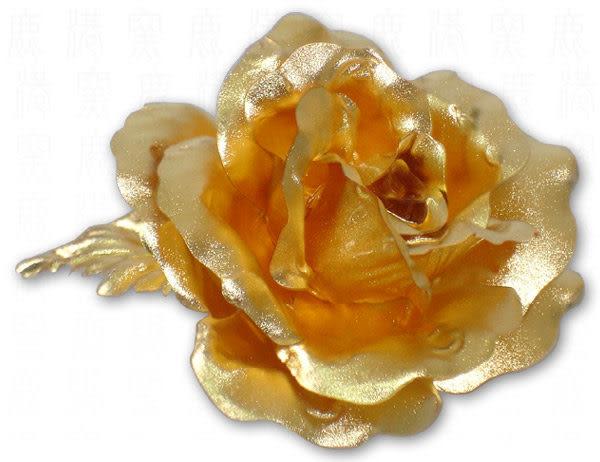 【鹿港窯】情人節禮物【典藏黃金玫瑰_胸花】精緻禮盒‧附手提袋