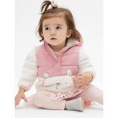 Gap 嬰兒女嬰 撞色拼接小熊插袋連帽外套 489587-粉色