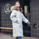 *魔法之城*F22941冬季時尚女裝女大毛領棉衣中長版羽絨外套