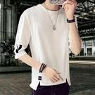 夏季個性修身短袖T恤男不規則五分袖上衣服夜店發型師半袖小衫潮 陽光好物