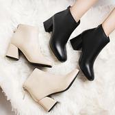高跟小短靴女 馬丁靴 百搭米白色