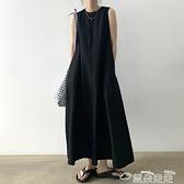 無袖洋裝韓國chic夏季極簡主義圓領寬鬆大擺裙顯高顯瘦長款無袖背心連身裙 雲朵走走