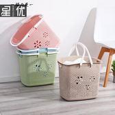 日式臟衣籃塑料洗衣籃手提籃浴室臟衣服收納筐收納藍臟衣簍加大號【櫻花本鋪】