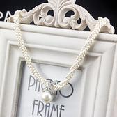 毛衣掛鏈 項鏈女短款韓國時尚多層小香風珍珠鎖骨鏈頸帶清新可愛氣質裝飾鏈 韓菲兒