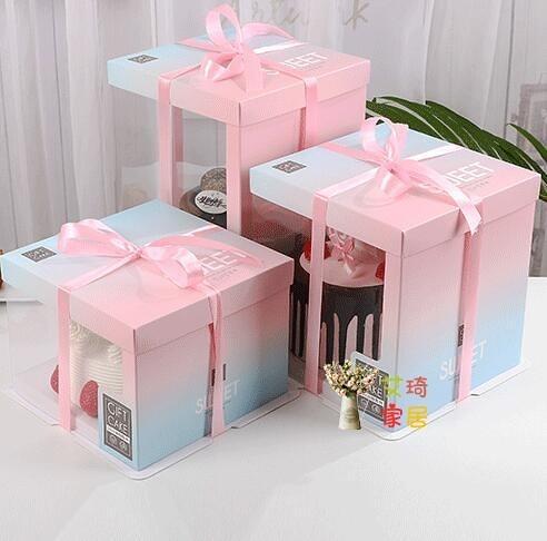蛋糕包裝盒 蛋糕盒子6六8八10十12寸一次性半透明雙層生日包裝盒