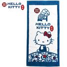 小禮堂 Hello Kitty x 故宮博物院 浴巾 毛巾 純棉 割絨 76x152cm (藍綠) 4713218-89602