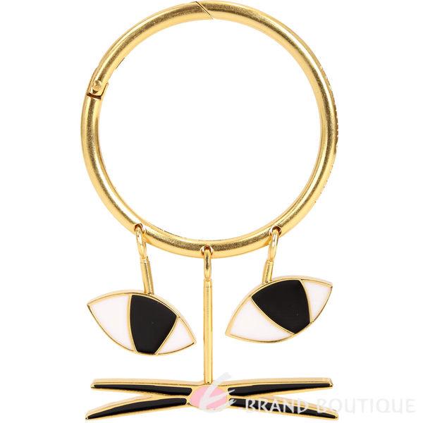 LULU GUINNESS 貓臉造型鑰匙圈/吊飾(金色) 1840753-24