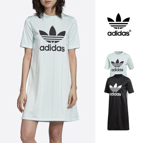 【GT】Adidas Originals 黑薄荷綠 洋裝 女款 運動 休閒 短袖 長版 連身裙 愛迪達 三葉草 直條紋 Logo
