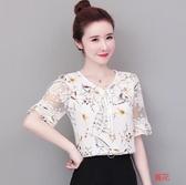 碎花雪紡襯衫女夏款2020韓版女裝大碼超仙洋氣上衣短袖遮肚子T恤 小城驛站