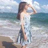 春夏女裝正韓氣質顯瘦百搭網紗吊帶洋裝寬鬆中長款打底裙長裙潮