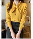 VK精品服飾 韓國風時尚領結鈕扣針織衫長袖上衣