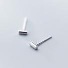 925純銀 短一字圓柱 耳環耳針釘-銀 防抗過敏