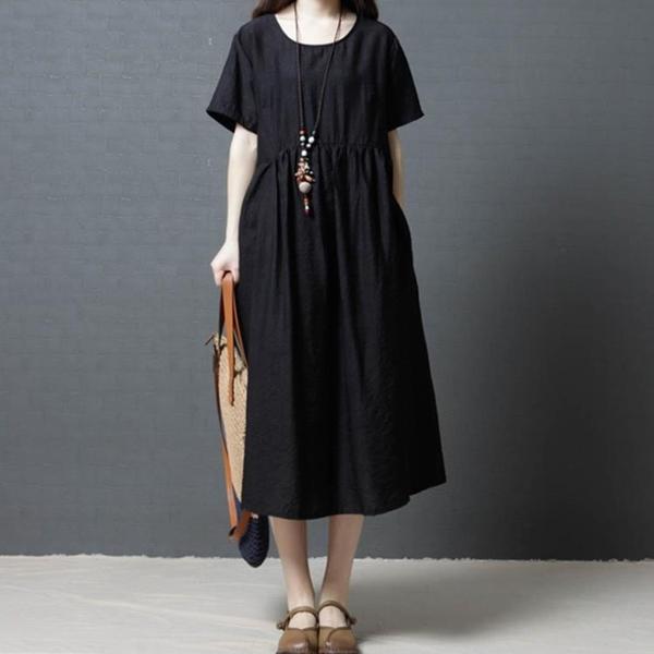 全場五折 200斤大碼女裝夏季新款文藝復古藏肉顯瘦寬松棉麻短袖連衣裙