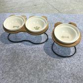 寵物食盆碟陶瓷水碗帶碗架傾斜保護頸椎狗碗【不二雜貨】