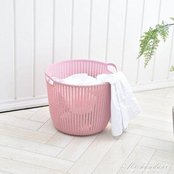 仿藤編塑料洗衣籃髒衣籃衣物收納筐衣服簍浴室收納籃 黛尼時尚精品