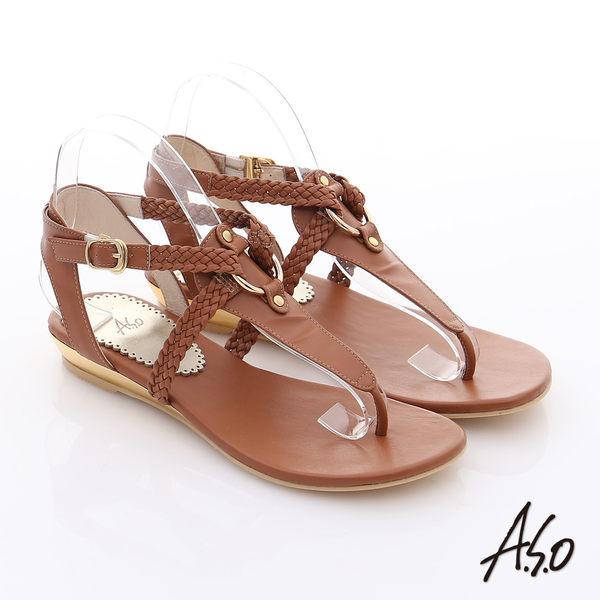 A.S.O 玩美涼夏 真皮編織帶平底涼鞋  茶
