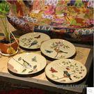 歐式複古花鳥盤子客廳擺盤美式創意家居軟裝...