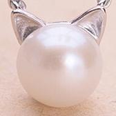 925純銀項鍊珍珠-小貓造型獨特吸睛百搭銀飾女墜飾73y68[巴黎精品]
