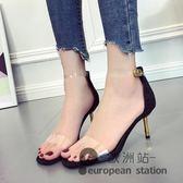 涼鞋/女夏一字扣帶透明露趾細跟亮片高跟鞋「歐洲站」