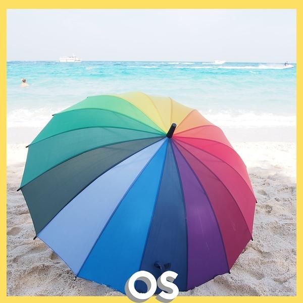 16色漸層彩虹手開直骨傘 16傘骨彩虹傘 rainbow umbrella | OS小舖