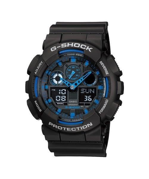 【時間光廊】 CASIO 消光 黑藍 G-SHOCK 抗震 防水200M 全新原廠公司貨 GA-100-1A2DR
