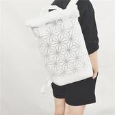 幾何菱格包雙肩15.6寸電腦包雙肩包3d菱形包潮男背包男運動休閒包   芊惠衣屋