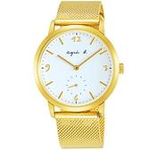 agnes b. 海外限定法式米蘭帶石英錶-白x金/43mm VD78-KLB0I(BN4008X1)