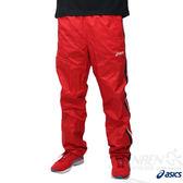 ASICS 亞瑟士 男保暖防風長褲(紅) 防風/潑水 內裡鋪棉風褲