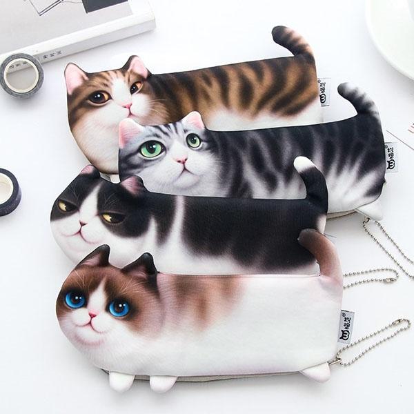 筆袋-日本可愛立體仿真貓咪筆袋 鉛筆盒 文具收納【AN SHOP】