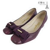 【巴黎站二手名牌專賣店】*現貨*Salvatore Ferragamo 真品*深紫色 蝴蝶結粗跟鞋 (5號)
