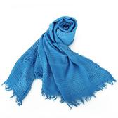 ARMANI COLLEZIONI 格飾皺紋毛邊大圍巾(藍色)102801