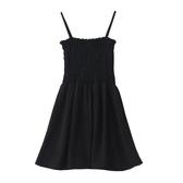 洋裝吊帶裙 高腰橡筋壓褶設計短裙 顯瘦 顯高 綠/黑 均碼Mandyc