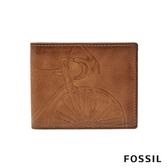 FOSSIL ROYER 單車壓紋真皮證件格RFID男夾-褐色(無鐵盒) SML1706222