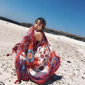 民族風絲巾女百搭夏季防曬披肩外搭沙灘巾兩用超大多功能 WD1197【夢幻家居】