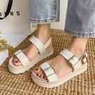 厚底鞋.日系百搭一字帶扣環平底涼鞋.白鳥麗子