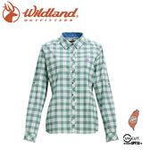 【Wildland 荒野 女 彈性抗UV格子長袖襯衫《灰綠》】0A71203/登山休閒服/快乾機能衣