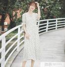 洋裝 2019夏新款波點連身裙女時尚雪紡裙小個子甜美中長裙子 韓慕精品