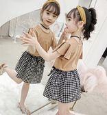個性女童夏裝 女童套裝 2019新款韓版兒童套裝 中大童喇叭袖格子裙 個性女童夏季兩件套