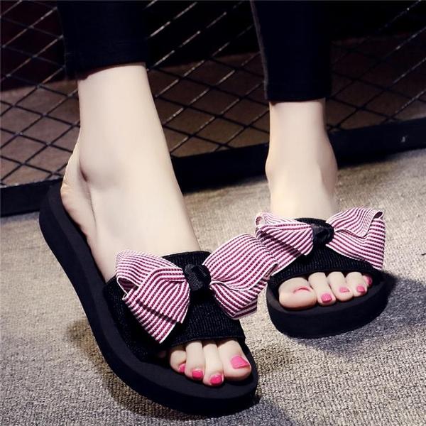 沙灘拖鞋女夏蝴蝶結厚底一字拖鞋平底防滑時尚外穿海邊度假涼拖鞋 情人節禮物