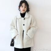 秋冬新款杏色羊羔毛外套女韓版寬鬆顆粒絨冬裝休閒夾克潮 交換禮物