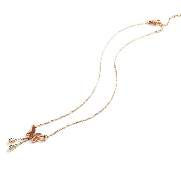 316L醫療鋼 蝴蝶流蘇 天然白水晶 鎖骨項鍊-玫瑰金 防抗過敏 不退色