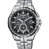限量款 CITIZEN 星辰 光動能電波鈦金屬腕錶-黑x銀/42mm AT9096-57E