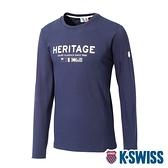 K-SWISS Heritage Flag Tee印花長袖上衣-女-藍