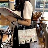 購物袋歐美超火街拍透明包ins帆布袋女單肩帆布包學生書包購物袋 芊惠衣屋