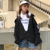 原宿印花牛仔外套女2018韓版bf寬鬆短款學生百搭潮秋季新款秋上衣