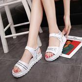 夏新款平底低跟平跟鬆糕跟厚底女涼鞋百搭韓版防滑女鞋學生鞋   檸檬衣舍